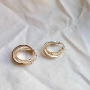 gold plated knotted hoop earrings