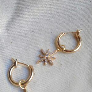 star pendant hoop earrings