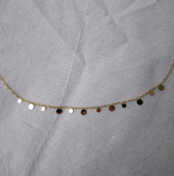 gold plated dainty disc necklace