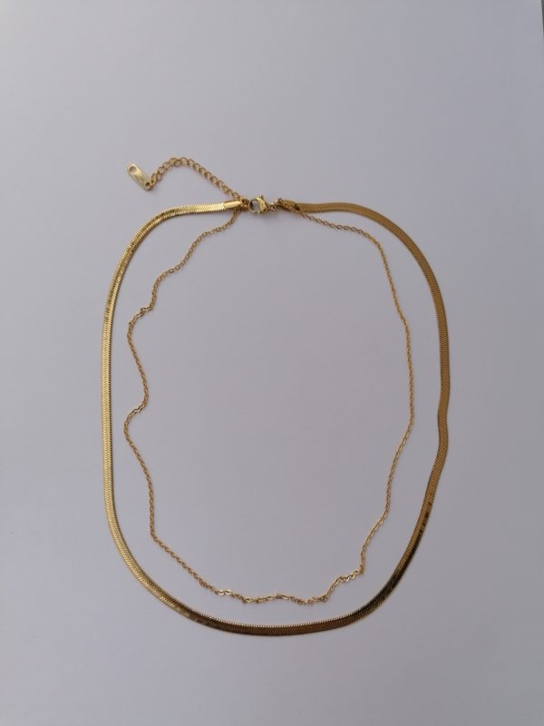 18k gold plated double chain herringbone necklace