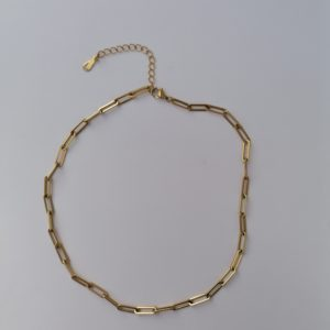 18K gold plated paper link chunky necklace